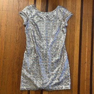 NEW White House Black Market sequin dress gold S